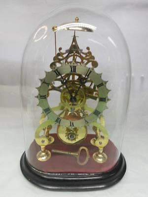 Victorian Fusee 8 Day Skeleton Clock under Original Glass Dome