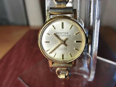SUPERB 1980's MONTINE LADIES WIND-UP WATCH WITH 9CT ROLLED GOLD STRAP. Working