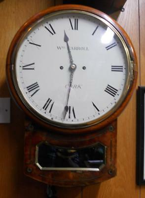 19th Century Mahogany Drop Dial 8 Day Twin Fusee Striking Wall Clock