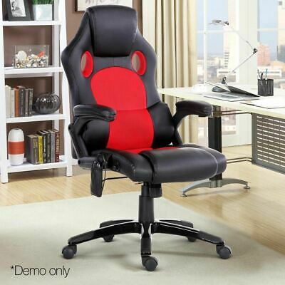 Recliner Heated Massage Executive Office Computer Chair 8 Point Leather Red Blk