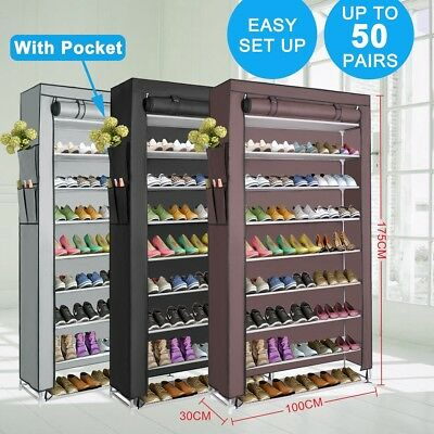 10 Tier 50 Pairs Shoe Rack Stackable Organiser Storage Cabinet With Cloth Cover
