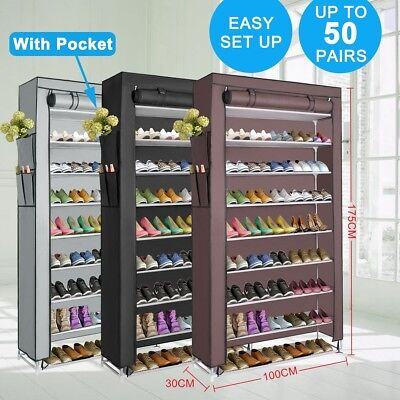 New 50Pairs Shoe Rack Stackable Storage Organizer Shelf Stand Cabinet 100cm Wide