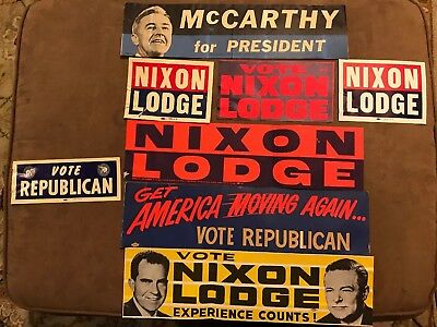 Lot of 8 Vintage NIXON Lodge & McCarthy for President Auto & Bumper Stickers