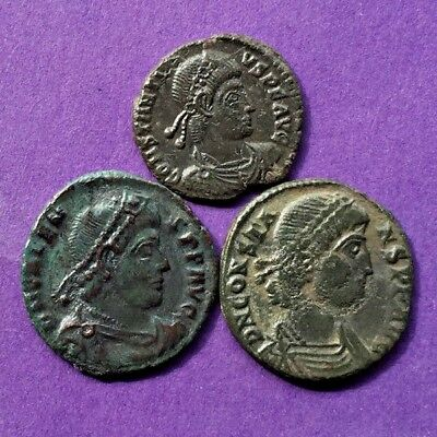 M2877 Lot of 3 bronze Roman coin of Constantius II,Valens and Constans 16-18mm