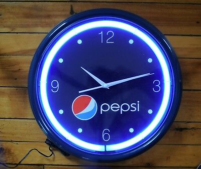 "Vintage New in Box Pepsi Neon Clock Never Opened 16"" Diameter 3 1/4"" Thick"