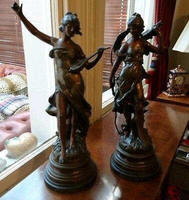 Beautiful Antique Pair Auguste Moreau Art Nouveau Cold Painted Spelter Figures