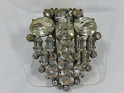 VTG ART DECO 1930s EISENBERG ORIGINAL LARGE RHINESTONE LARGE FUR CLIP BROOCH PIN
