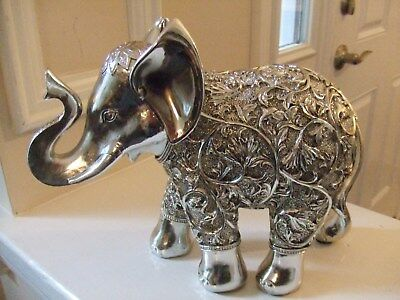 """Elephant Statue with Carvings Silver Color 8.25""""T """"Safari Decor"""""""