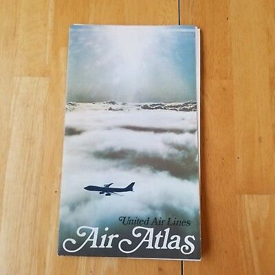 Vintage United Air Lines Air Atlas Hawaii Route Map 1970 Fold Out