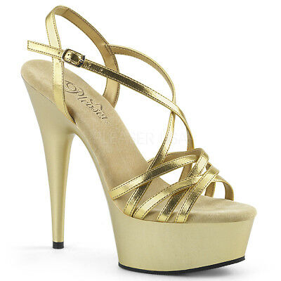 1a738e017df4 Pleaser DELIGHT-613 Women s Gold Metallic Pu Heels Platform Criss-Cross  Sandals