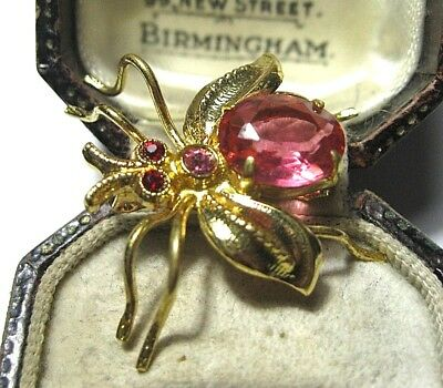Beautiful Vintage Antique 1930's Art Deco Pink Crystal Insect Bug Fly Pin Brooch