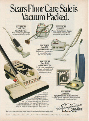 1986 SEARS FLOOR CARE Vacuum Cleaners 100th Anniversary 1 Page Vintage Print Ad