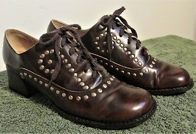 BOHO! Women's VINTAGE 60's 70's MILLER EYE Brown & Gold STUDS Oxfords SHOES