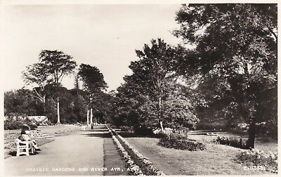 Ayr Scotland C1950s PC to Longniddry East Lothian View of Craigie Gdns & River