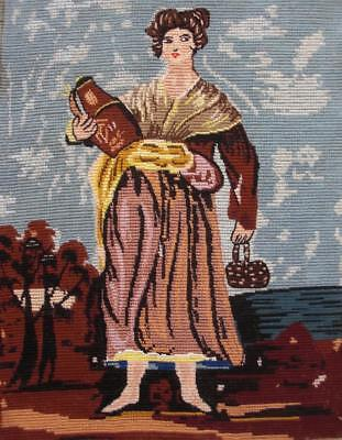 """Vintage completed cotton needlepoint  Woman with a jar and a basket 17""""x13"""""""