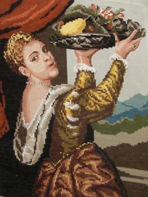 """Petit point needlepoint Lavinia with a Basket of Fruit T Vecellio (Titian) 13.7"""""""