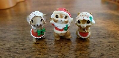 1986  Hallmark Merry Miniature Santa Chipmunks plus Christmas Mouse