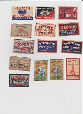 14 OLD MATCHBOX LABELS FROM 7 DIFFERENT COUNTRIES  DATED 1930s-40s.