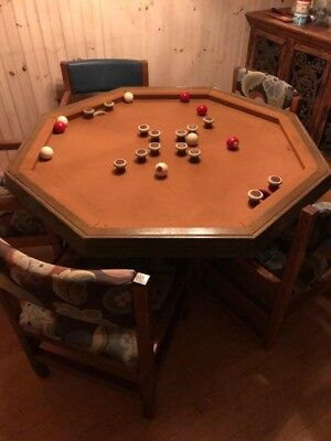 "Vintage Wooden 3 in 1 - 52"" Octagon Combo - Dining, Poker, Bumper Pool Table"