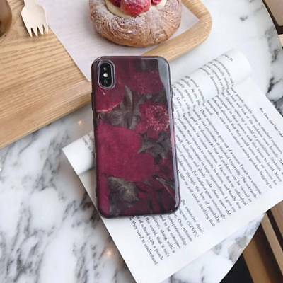 Retro Wine red Oil Painting Flower leaf TPU phone case cover For iPhone 6-XS MAX