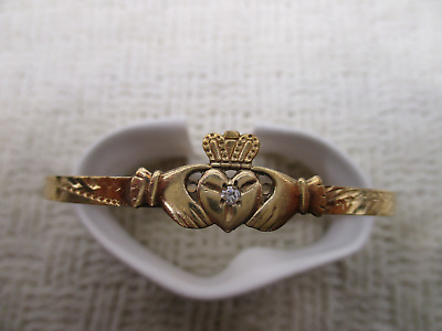 Nefj Gold P Claddagh Irish Love Loyalty Friendship Bracelet Vtg High End Jewelry