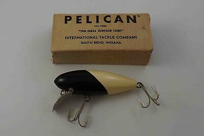 Old vintage wooden NIB, PELICAN by INTERNATIONAL TACKLE CO. BLACK & WHITE