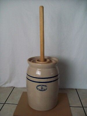 Antique ~ Marshall Butter Churn #3 ~ Blue Stripe ~ Primitive Stoneware With Lid
