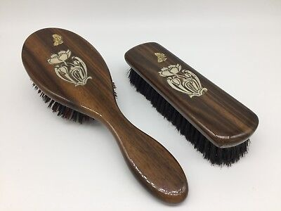 Vintage Real Ebony Brushes with Silver Inlay