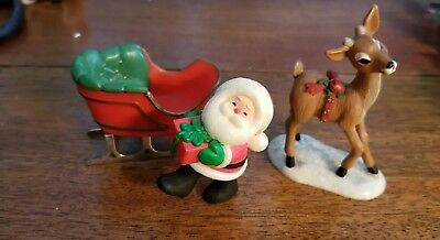 1980  Hallmark Merry Miniature Sleigh,  Reindeer,  and Santa with a Package