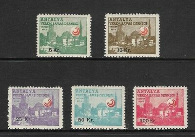 Turkey - Antalya Red Crescent Tuberculosis Stamps - Labels Full Set Of Values.