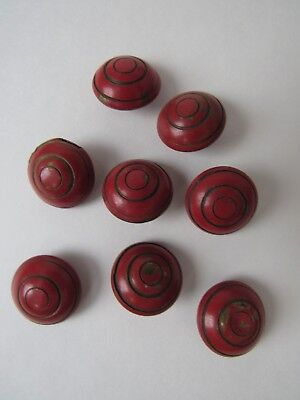 Vintage  Round, Dark Red, Metal Buttons, Set Of 8, Good Condition !