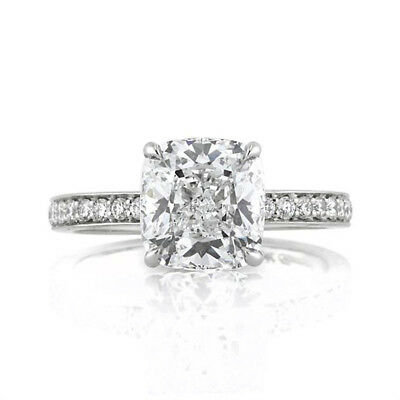 3.00 Ct Cushion Cut Diamond Engagement Wedding 14K Solid White Gold Rings Size 6