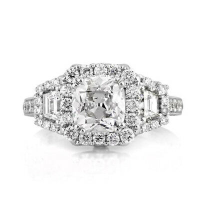 3.24 Ct Cushion Cut Diamond Engagement Wedding 14K Solid White Gold Rings Size 7