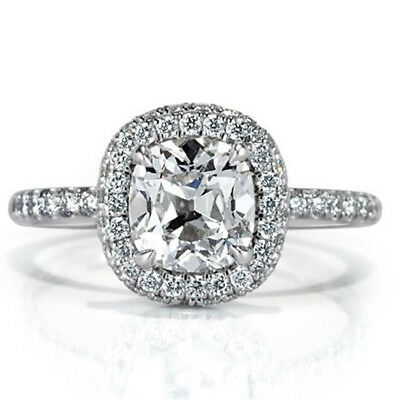 2.20 Ct Cushion Cut Diamond Engagement Wedding 14K Solid White Gold Rings Size 8