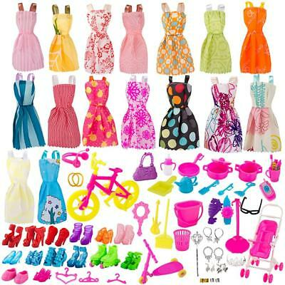 130 pcs Doll Clothes Huge Lot Gown Outfits Party Accessories Barbie Girl Set New