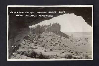 1951 View From Inside Indian Ghost Cave Billings Montana Photo Postcard 1c Stamp