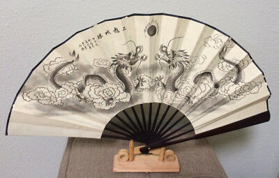 Large Vintage Chinese Decorative Dragon Wood Fan with Stand