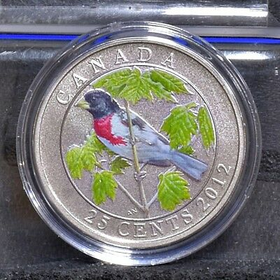 2012 Rose-Breasted Grosbeak, Birds of Canada Series 25c Coin w/ Box & COA #10426