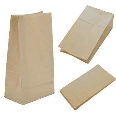 10/20/30X Brown Kraft Paper Food Bag For Sandwiches Groceries.,etc Portable New
