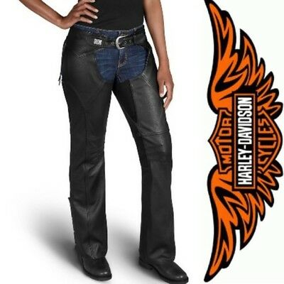 Harley Davidson Womens Leather Chaps S Embroidered Logo Adjustable Inseam Black