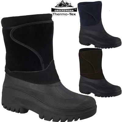 Mens Ladies Fur Lined Grip Sole Snow Mucker Boots Winter Warm Thermal Wellington