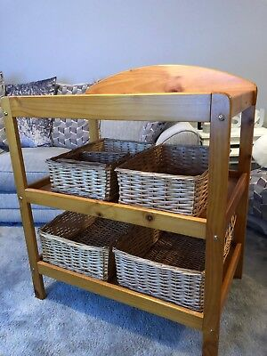 Wooden Baby changing unit station table with 5 storage baskets