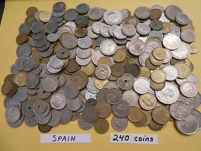 World Coin Lot:  240 Foreign Coins from Spain