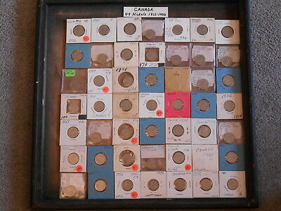 World Coin Lot:  49 Canadian Nickels from 1922 to 1936