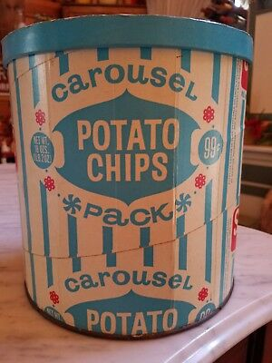 Carousel Potato Chips Snyders Of Hanover Paper Tin vintage