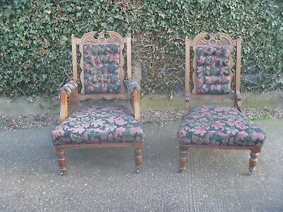 Pair Of Victorian Carved Walnut Armchairs Gents And Ladies