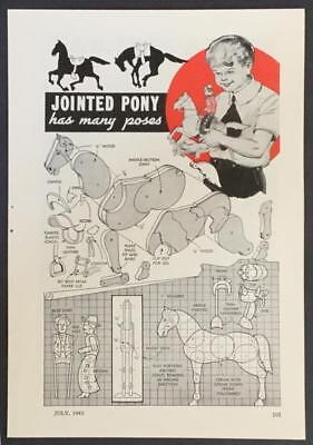 Posable Pony Wood Toy 1943 HowTo build PLANS & Space Saving Dining Table Cabinet