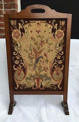 Rare Antique Vtg Needlepoint Tapestry Floral Needlepoint Wood Frame Fire Screen