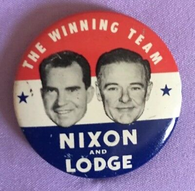 Vintage Presidential Political Campaign Pinback Buttons Nixon /Lodge Veryrare