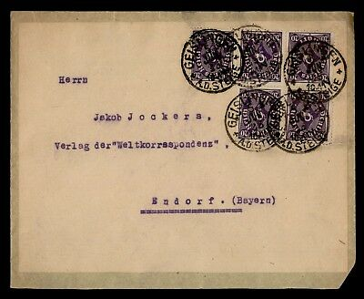 DR WHO 1923 GERMANY BLOCK GEISLINGEN TO ENDORF  d76422
